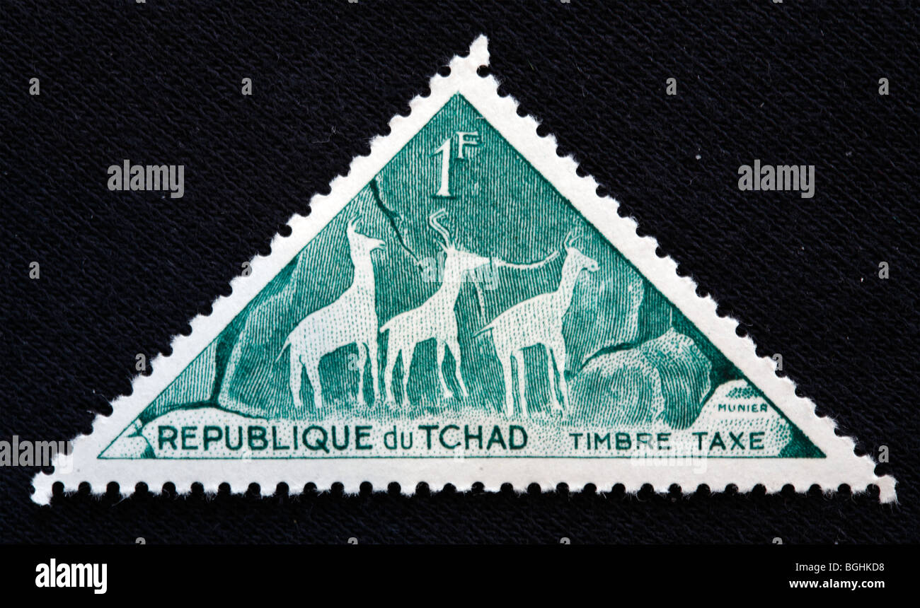 African pre-historic art, postage stamp, Republic of Tchad, 1970-s - Stock Image