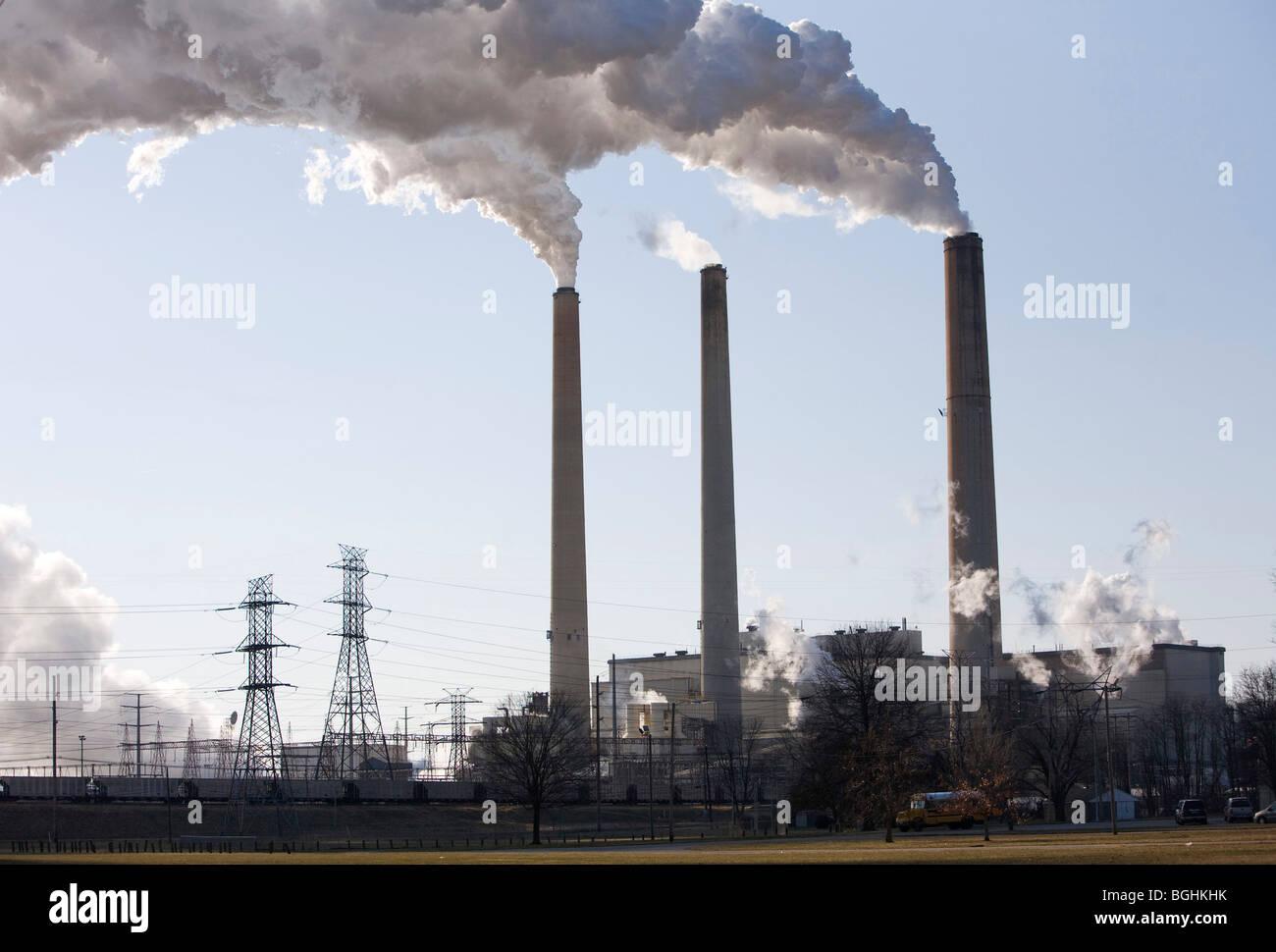 Power plant smokestacks.  - Stock Image