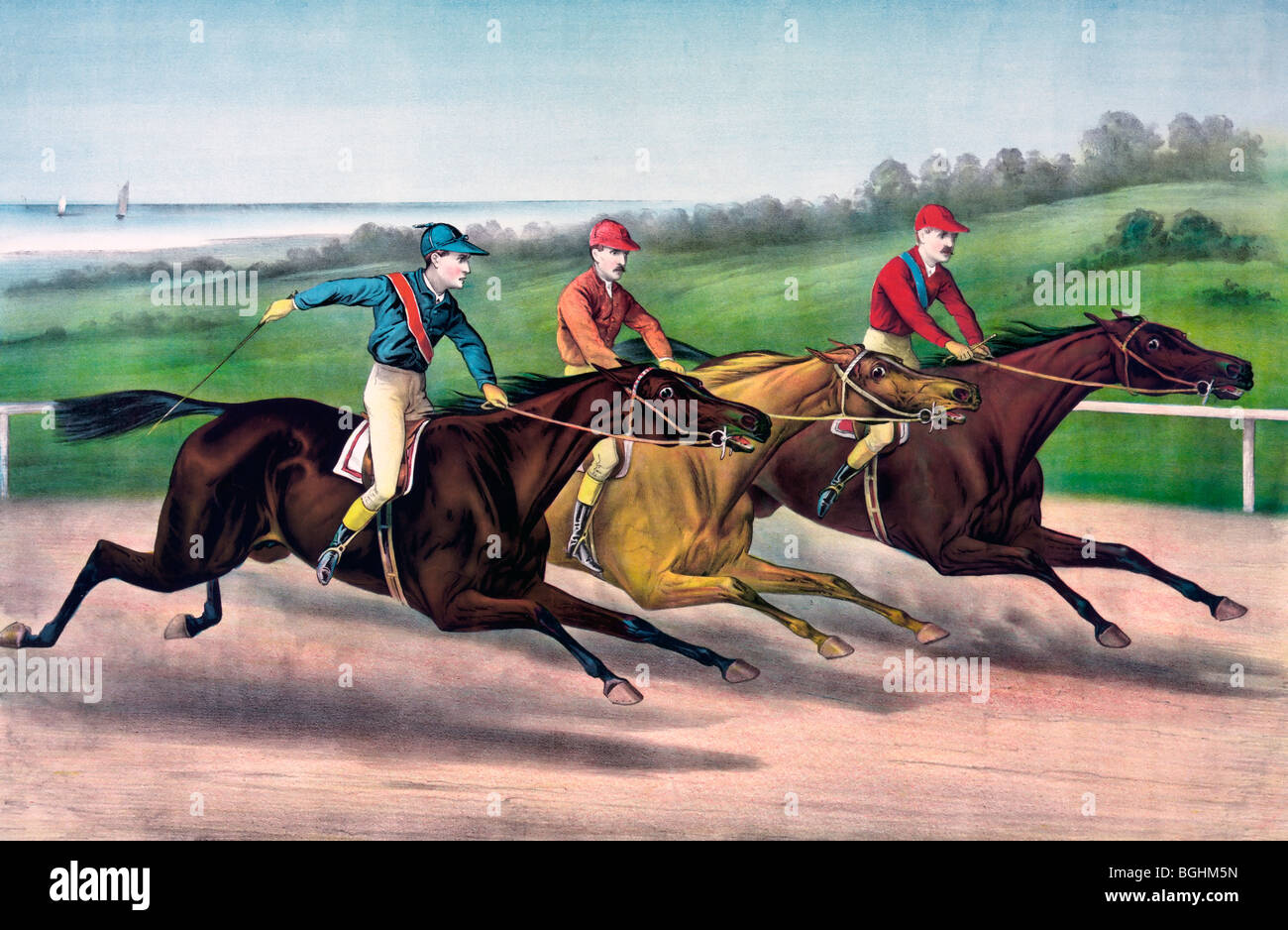 A close lap on the run in - Horse Racing, 1886 Stock Photo