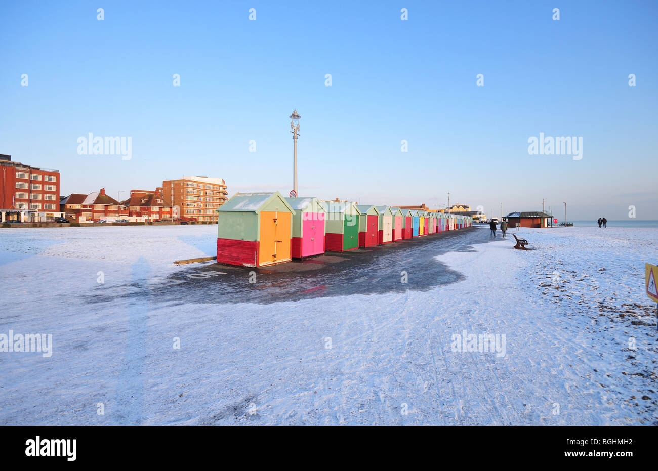 Snow on seafront - Brighton and Hove, East Sussex - Stock Image