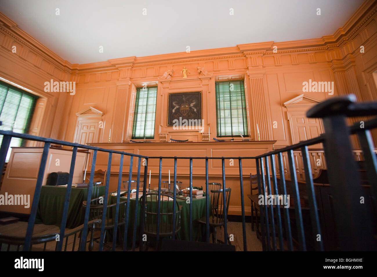 From the Defendant box in the Courtroom in Independence Hall in Philadelphia, Pennsylvania - Stock Image