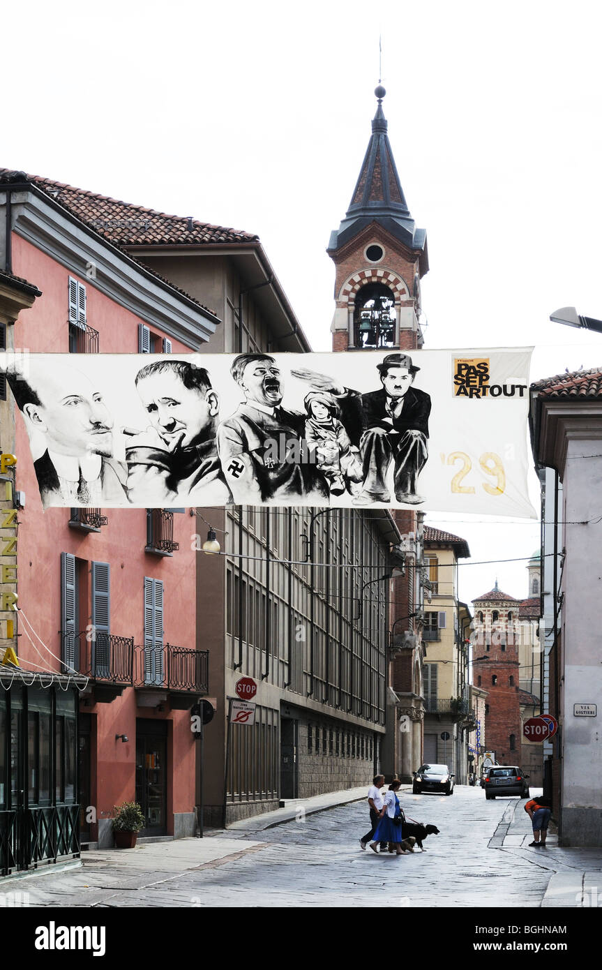 Corso Vittorio Alfieri Ast Piedmont Italy with banners depicting famous people for the Asti Festival - Stock Image