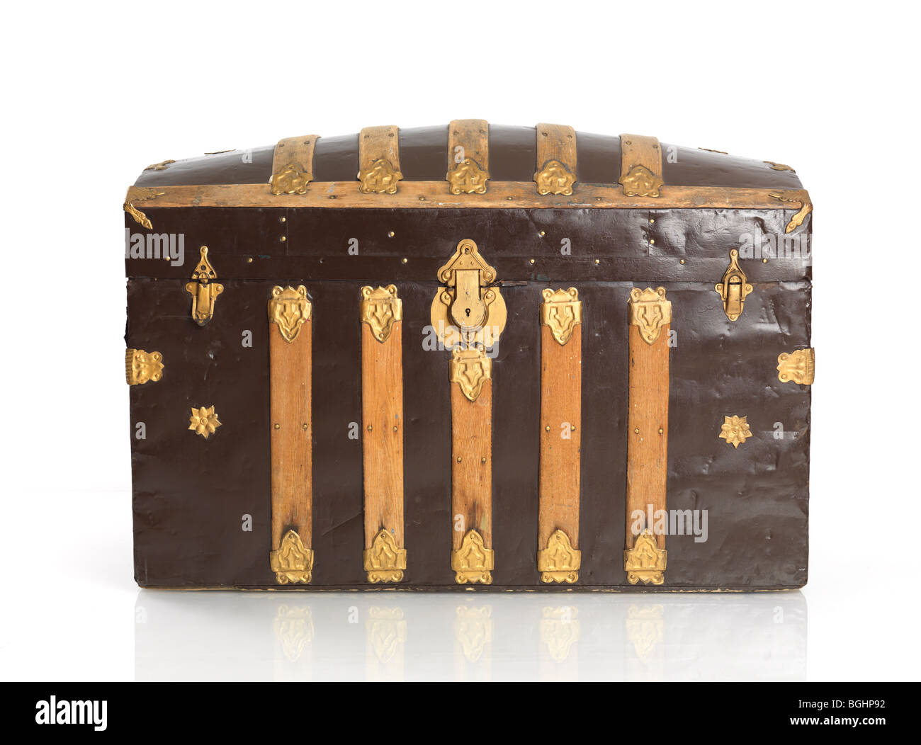 Treasure chest isolated on white background - Stock Image