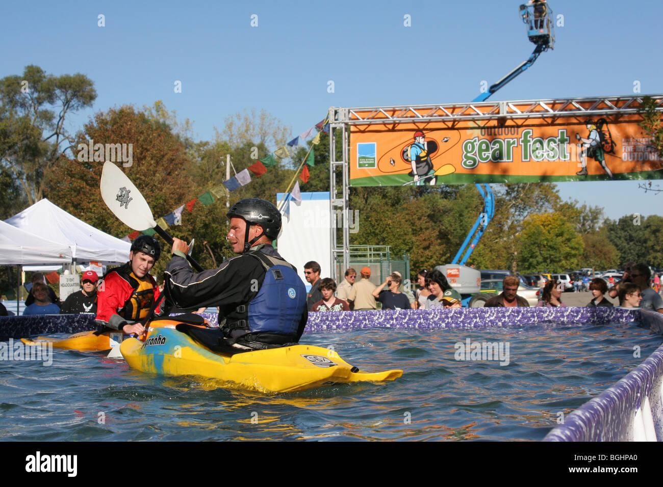 Kayak Demonstration at Gearfest, Eastwood Metropark, Dayton, Ohio. - Stock Image