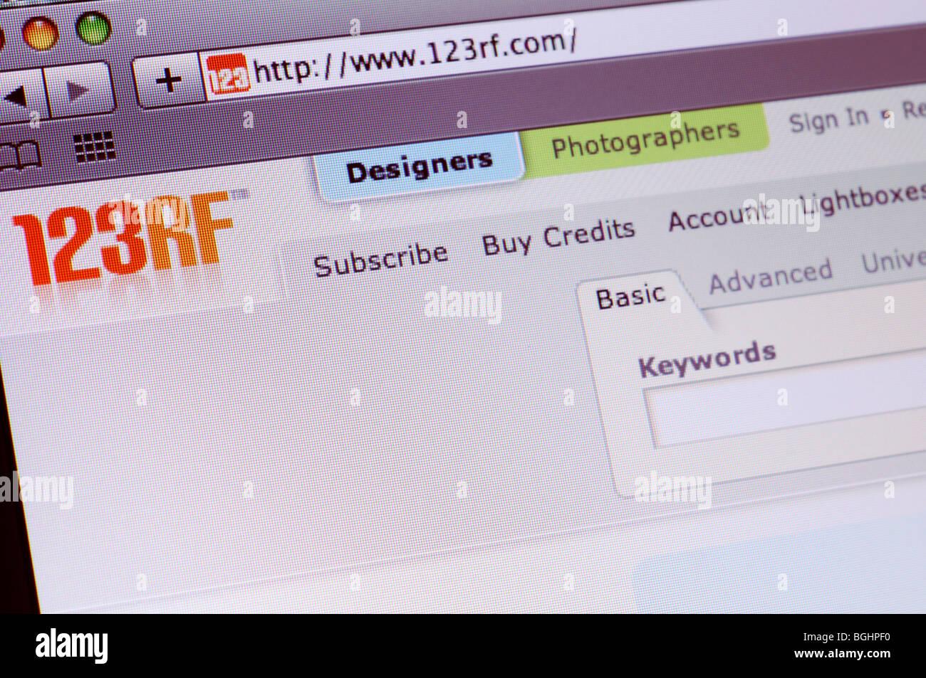 123RF photo stock agency website - Stock Image