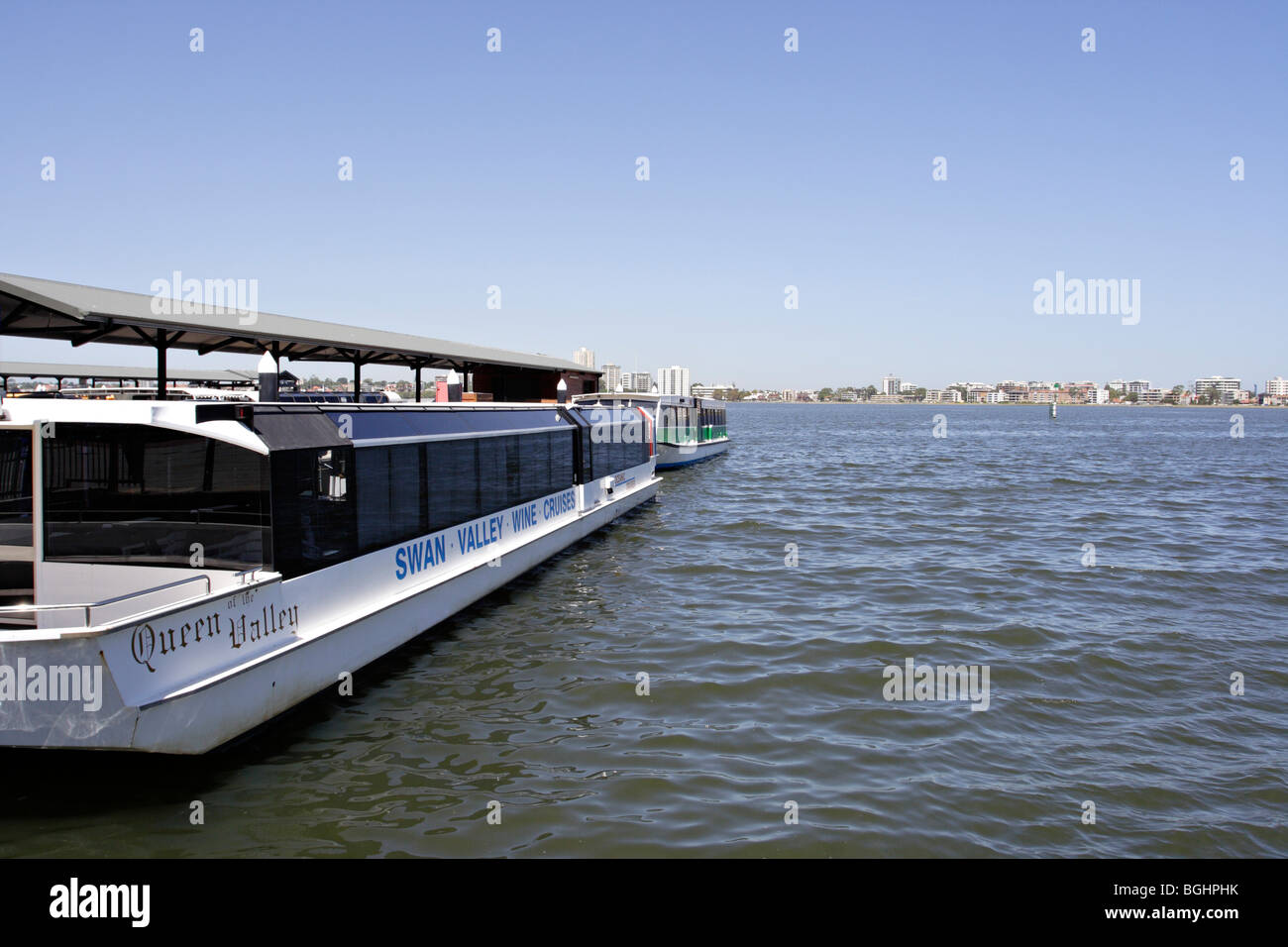 Cruise boat at Barrack Street Jetty in Perth, Western Australia. - Stock Image