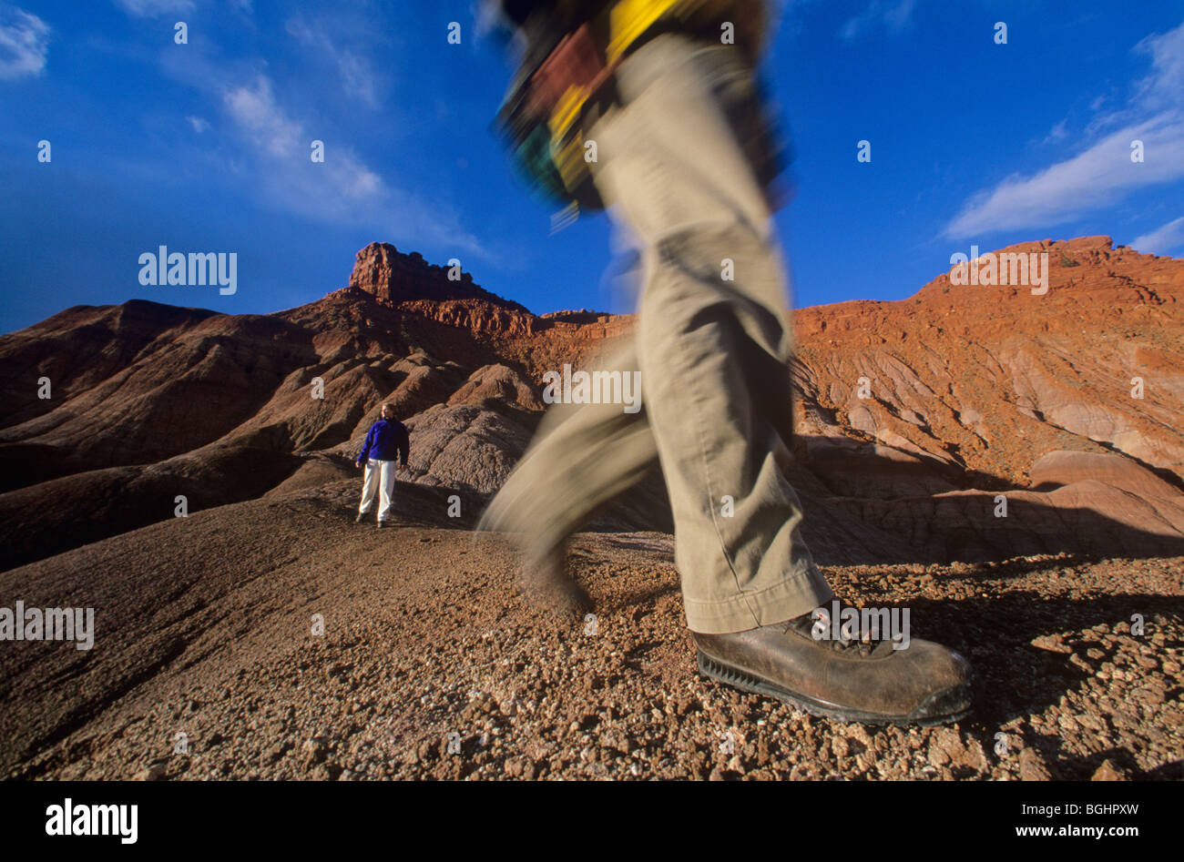 Hiking in badlands near Pahreah, Grand Staircase-Escalante National Monument, Kanab, Utah,USA - Stock Image