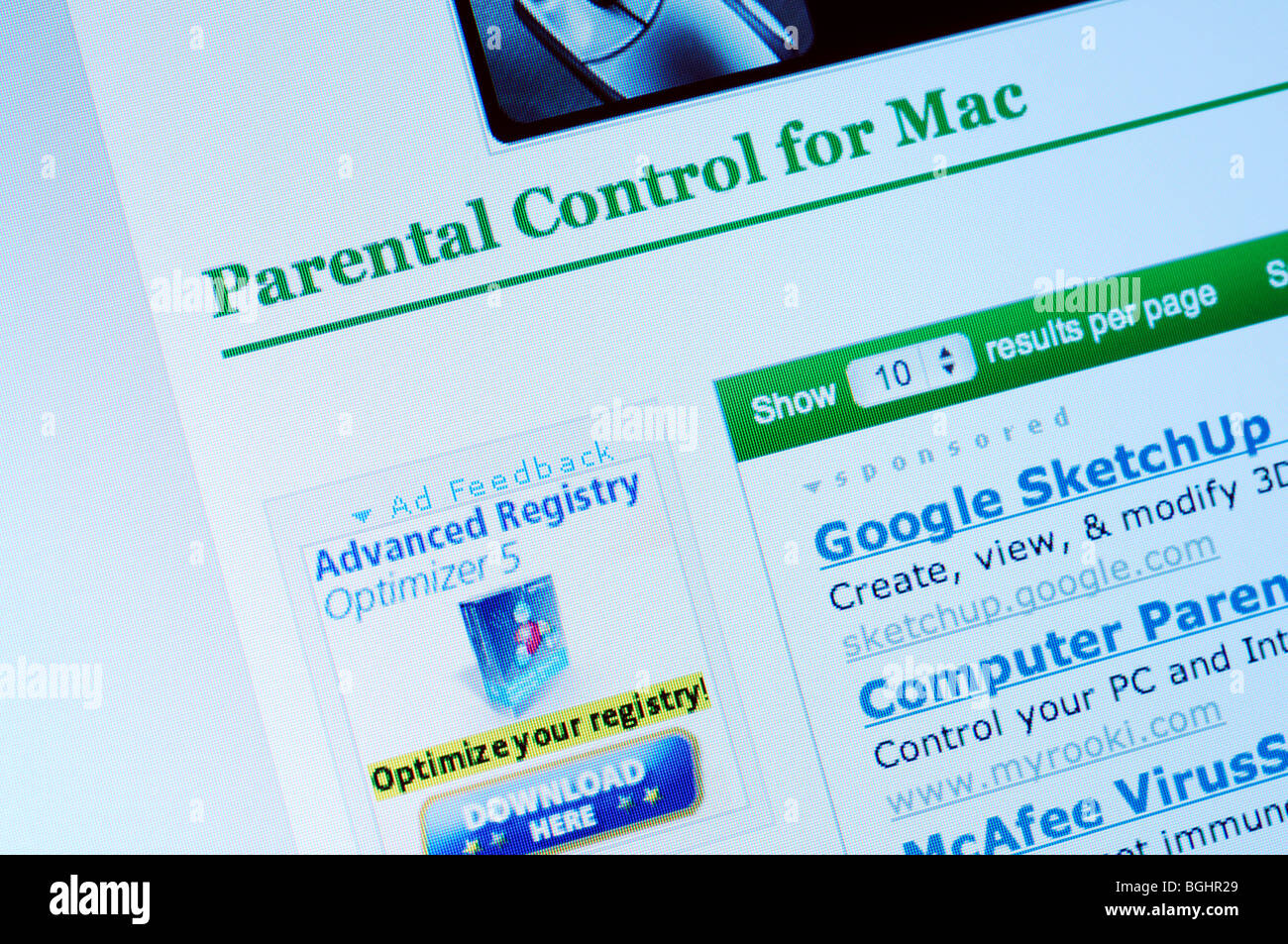 Parental Control for Mac (website) - Stock Image