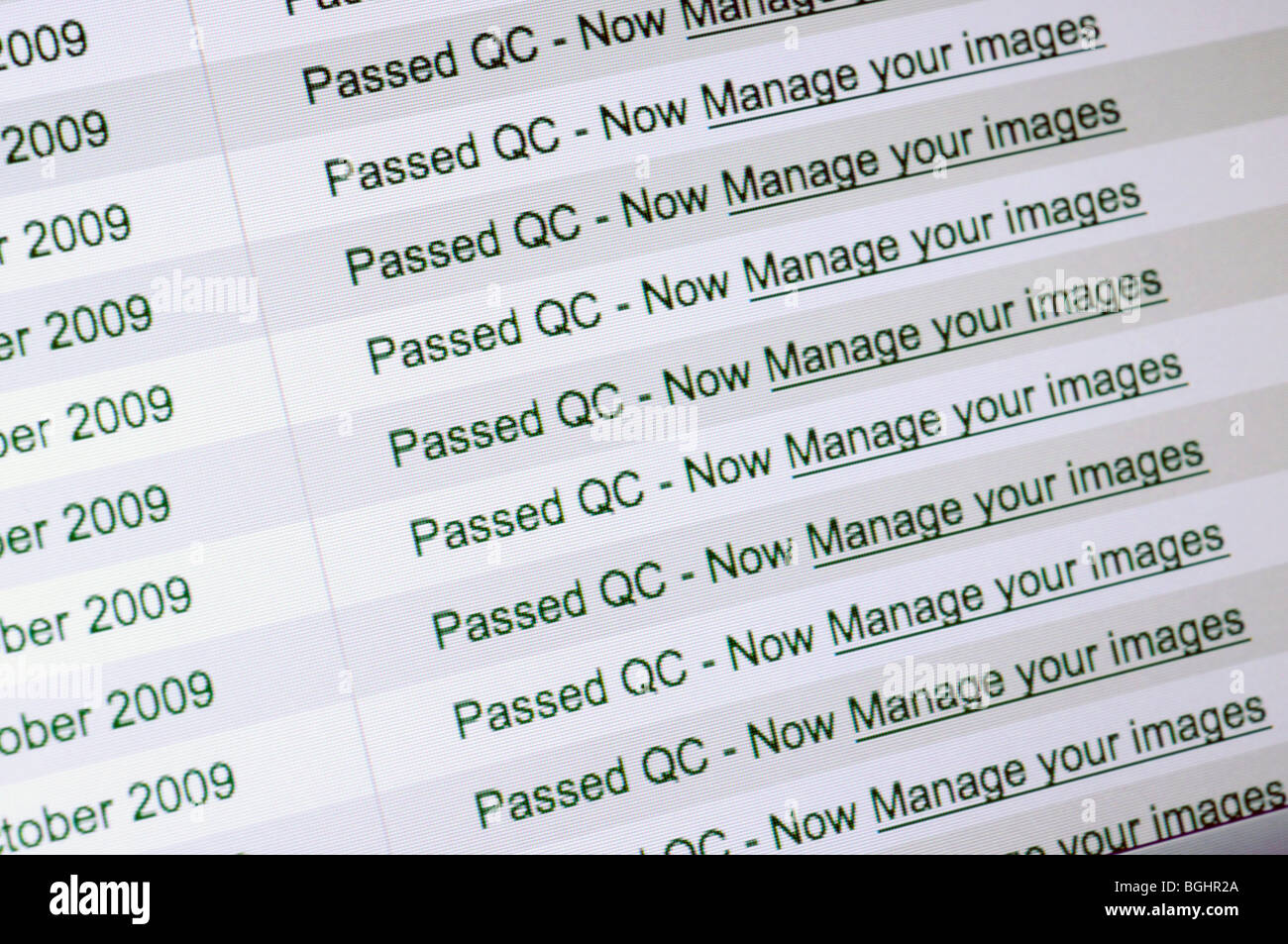 Passed QC Alamy submission status - Stock Image