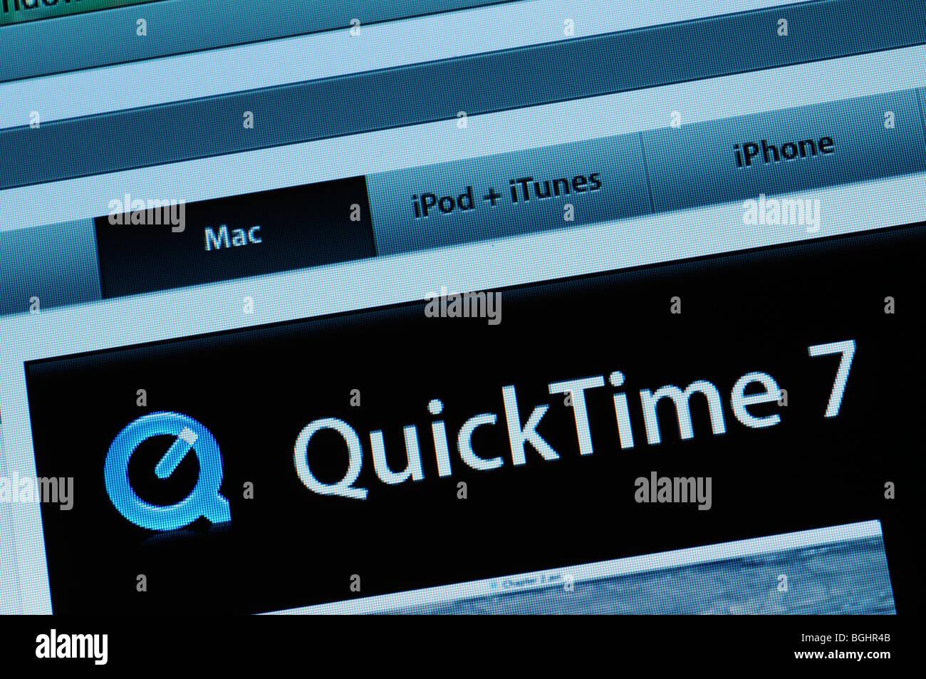 QuickTime download website - Stock Image