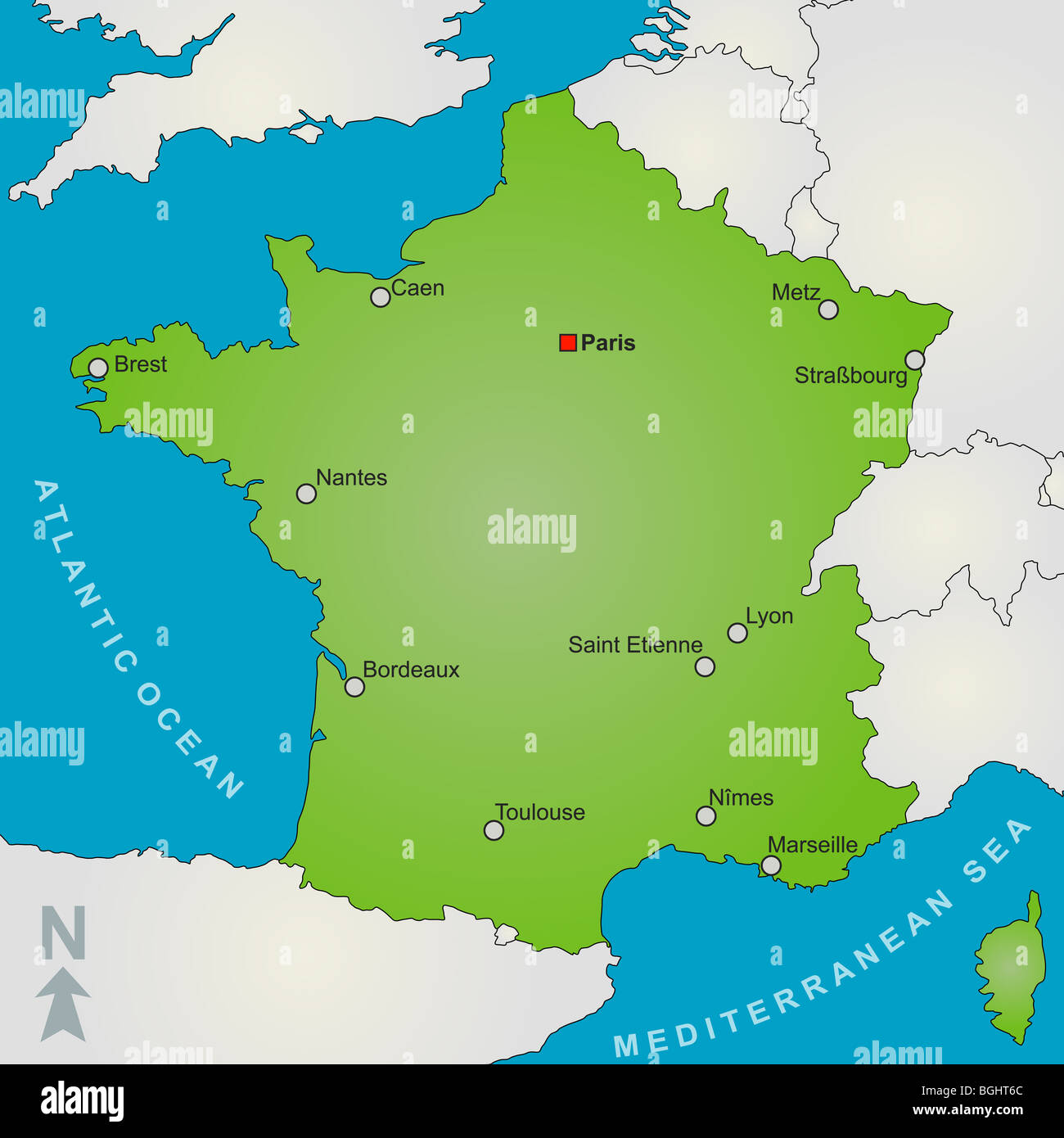 Cities Of France Map.A Stylized Map Of France Showing Several Big Cities And Nearby Stock