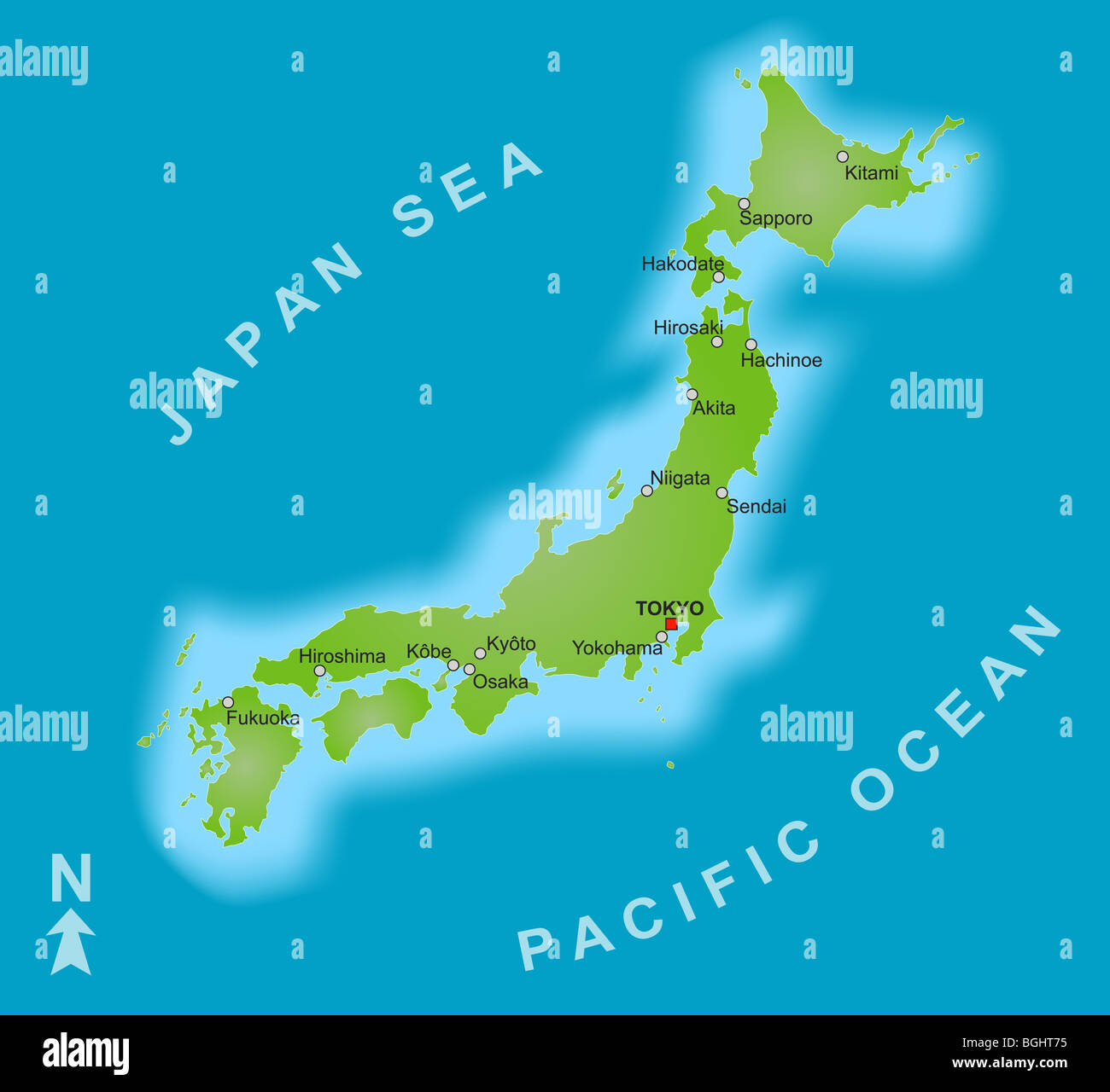 A Stylized Map Of Japan Showing Different Big Cities Stock Photo