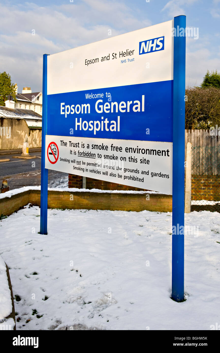 Epsom General Hospital Entrance with a 'Smoking Forbidden' notice.  England UK - Stock Image