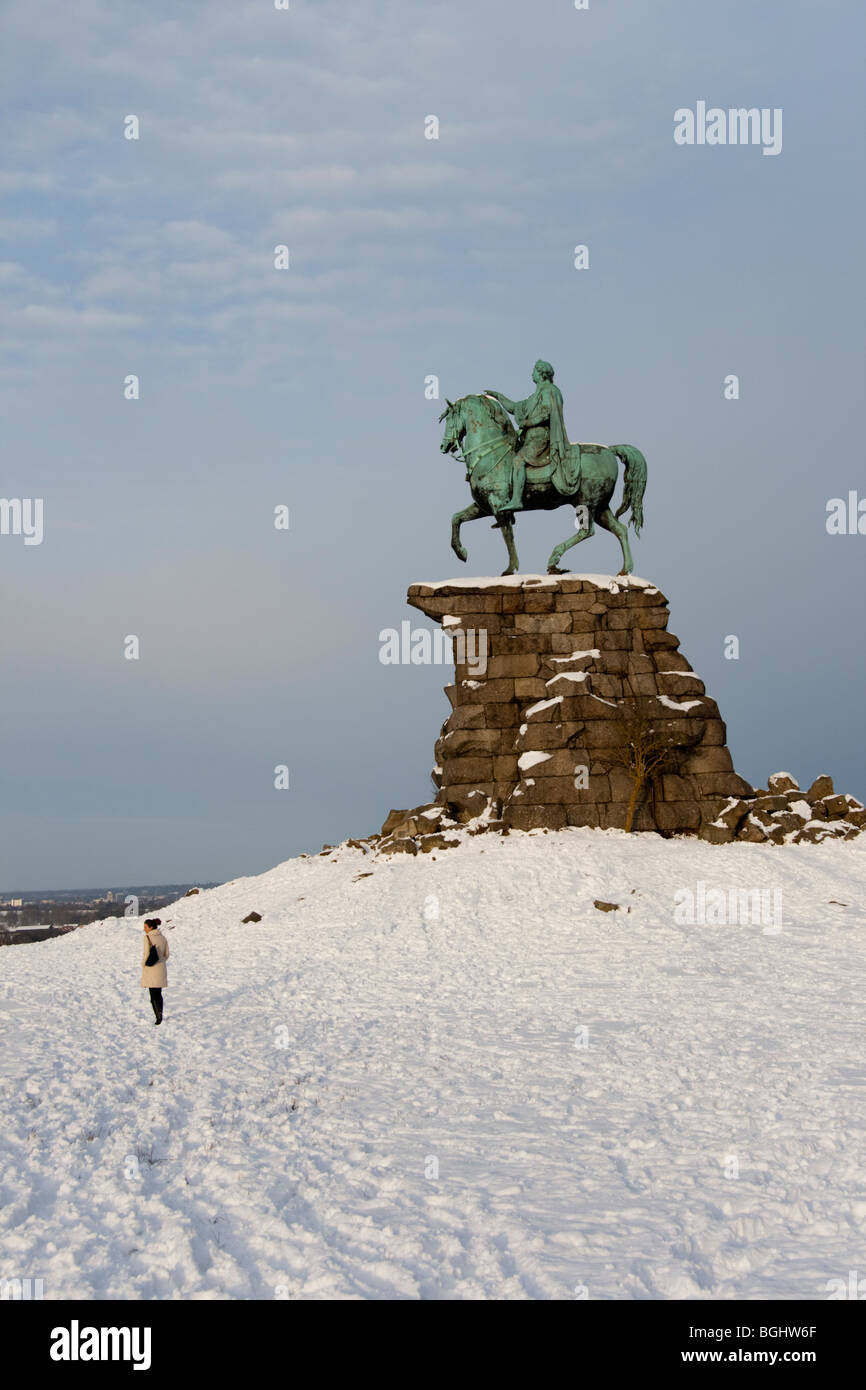 The Copper Horse in snow in winter, Windsor Great Park, Berkshire, England, UK - Stock Image