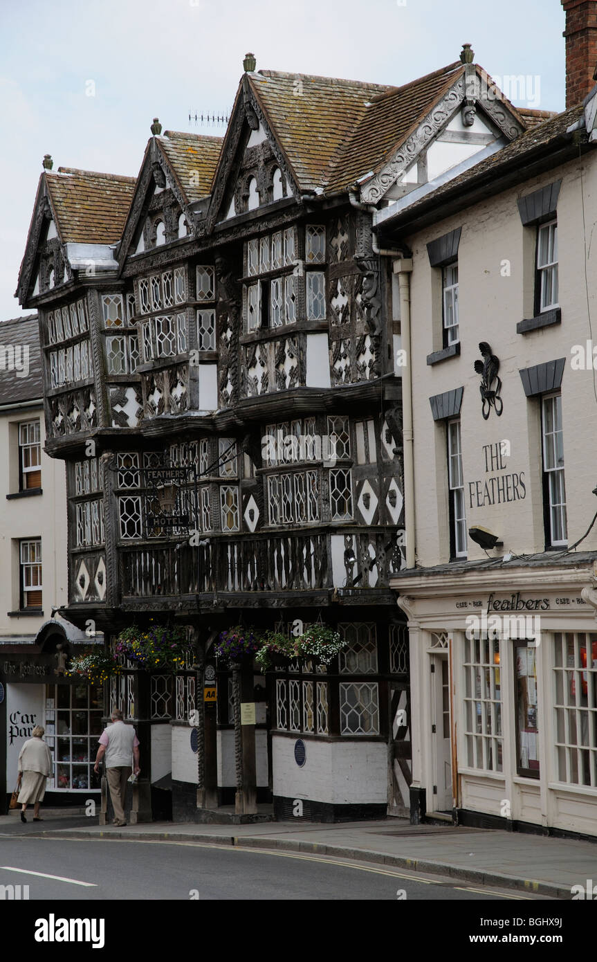 The Feathers Hotel in Ludlow Shropshire England - Stock Image