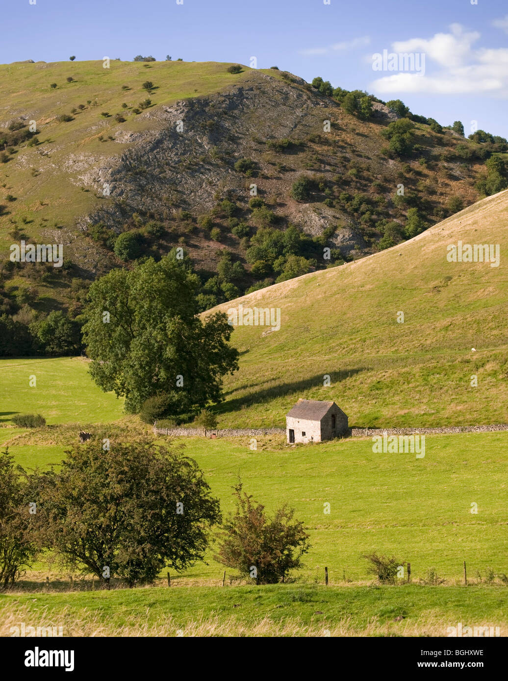 peak district landscape with fields and dry stone walls. The valleys of the river manifold and river dove, dovedale Stock Photo