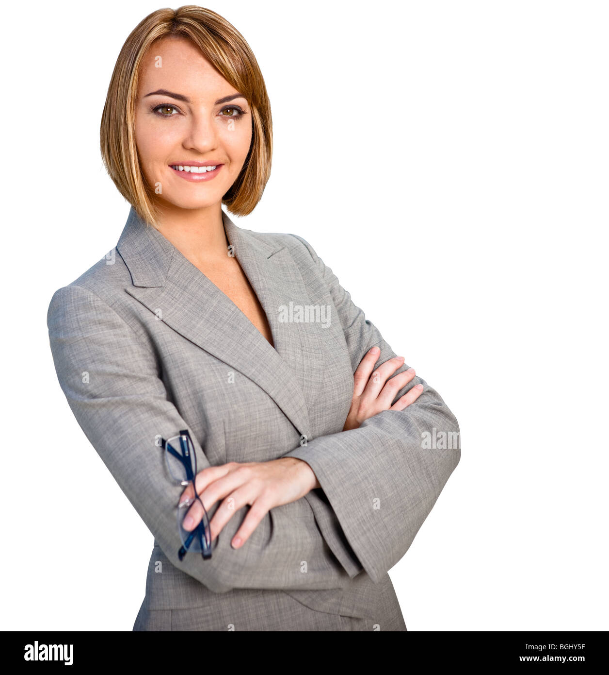 Cutout of a businesswoman deep etched on white - Stock Image