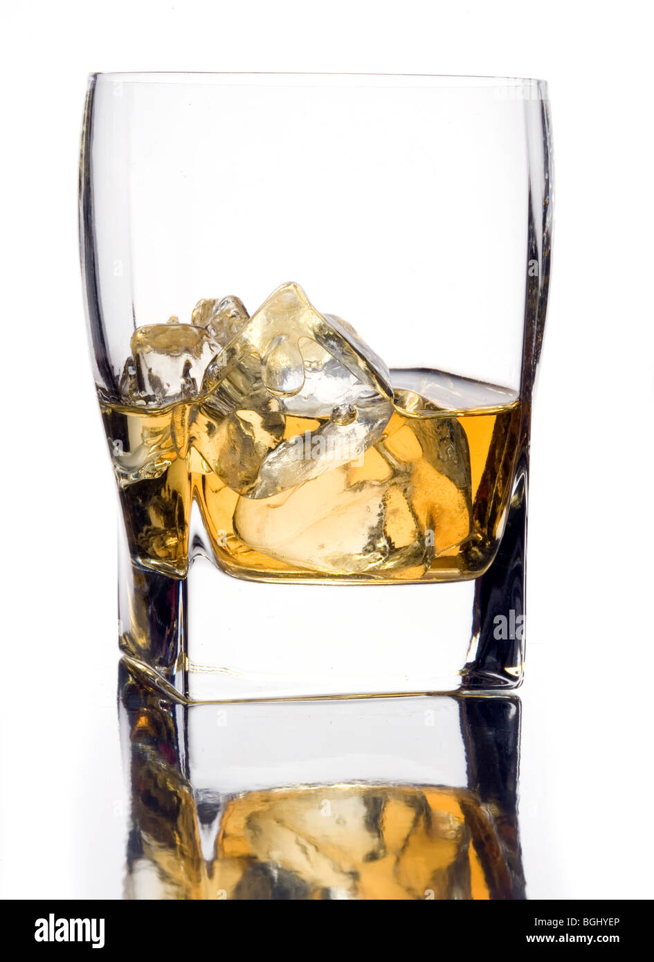 glass of  scotch whisky with ice - Stock Image