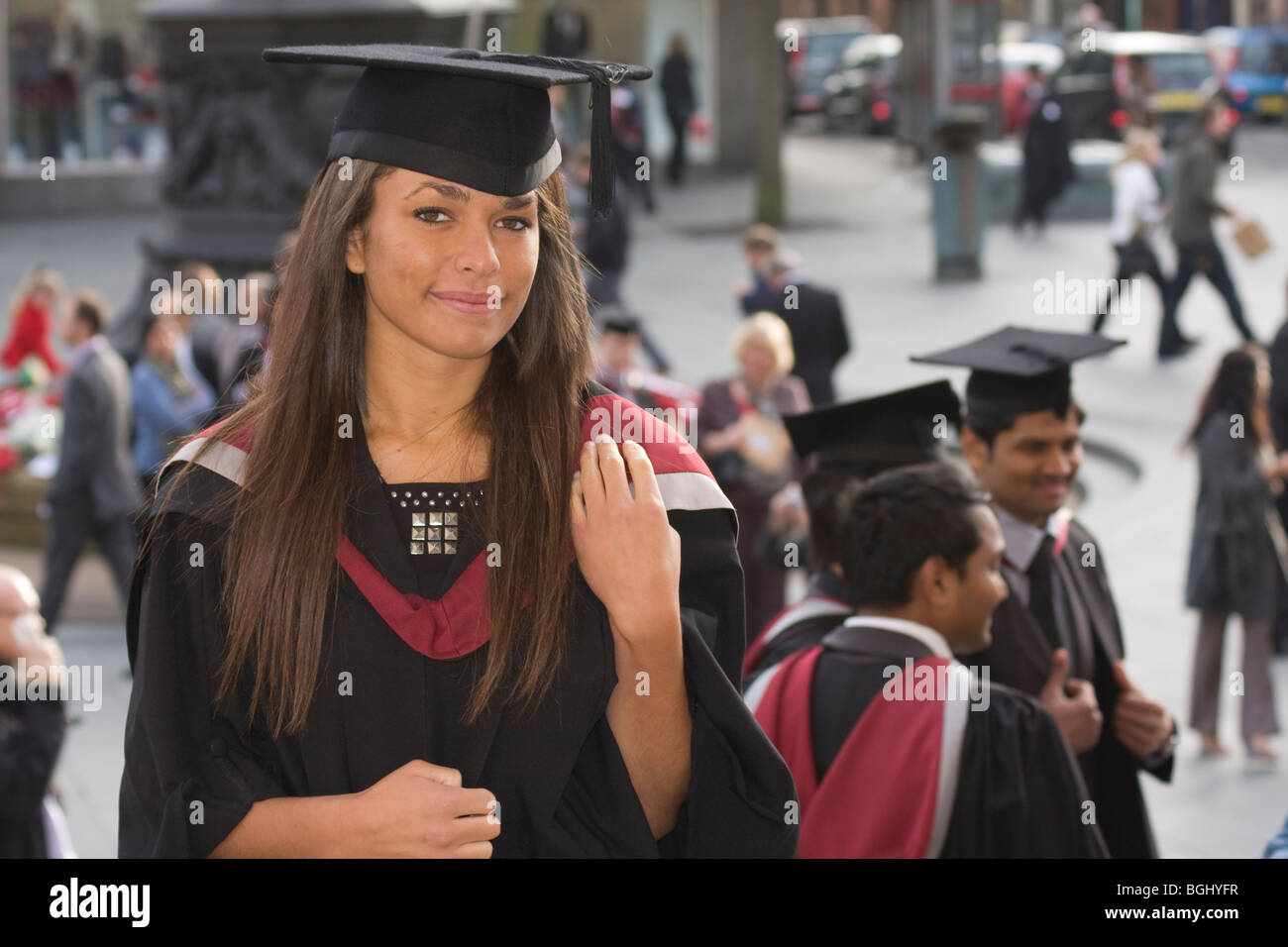 portrait a young woman on graduation day - Stock Image