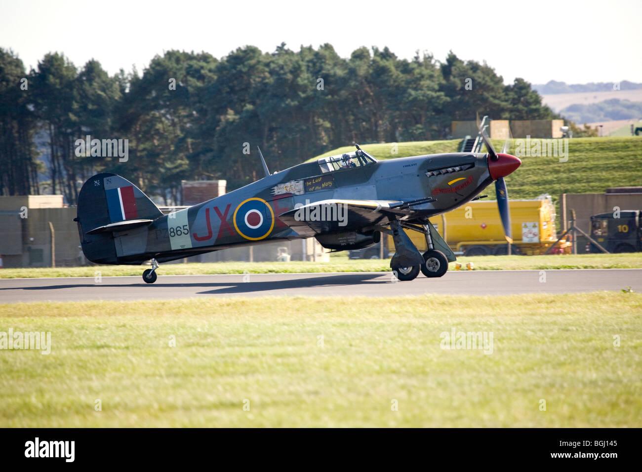 Hurricane PZ865 (Mk IIc) from the Battle of Britain Memorial Flight at RAF Leuchars Airshow 2009, Fife, Scotland - Stock Image