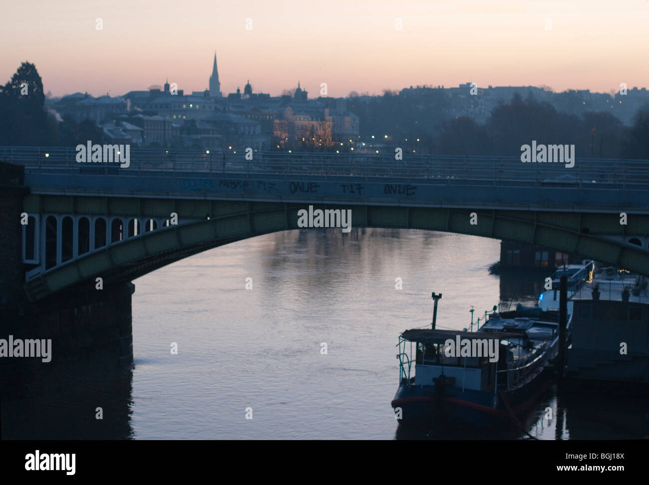 Early morning view of Richmond Upon Thames from Twickenham Bridge,England - Stock Image