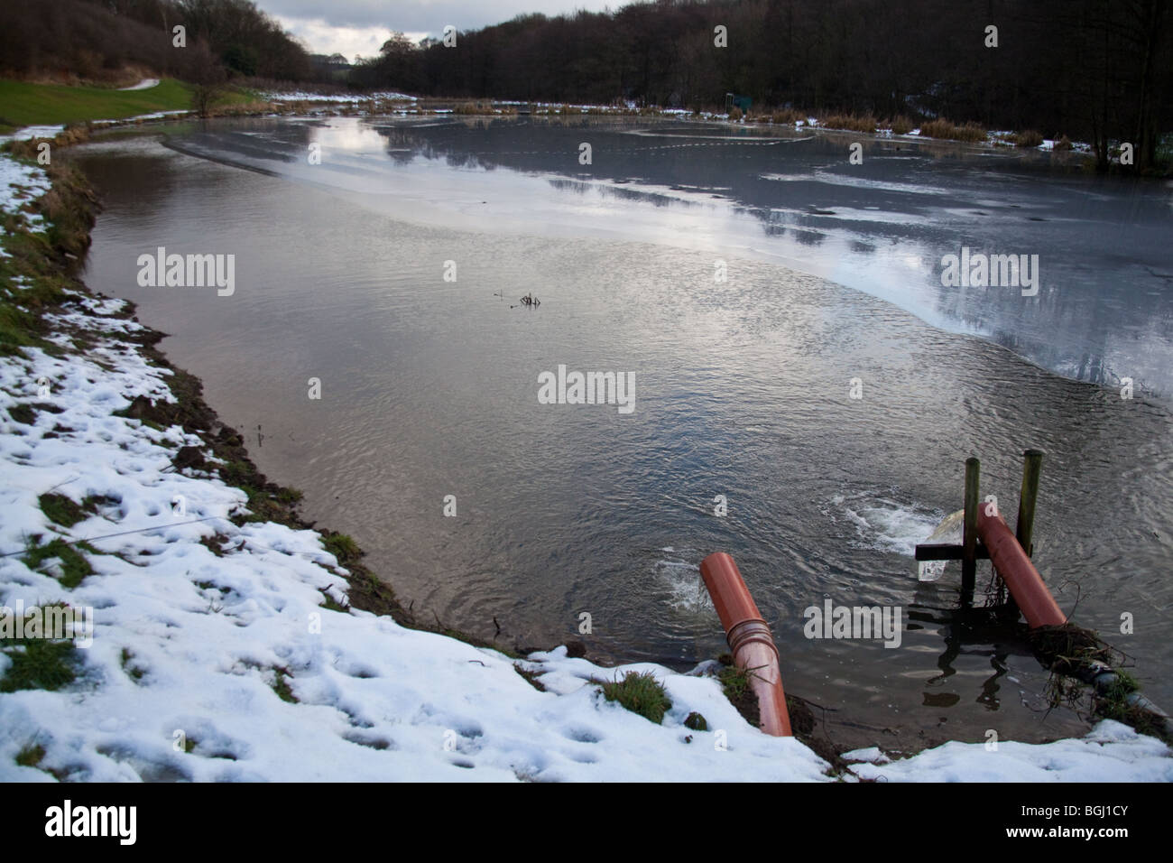 Barlow fishery trout lakes river Derbyshire England. - Stock Image
