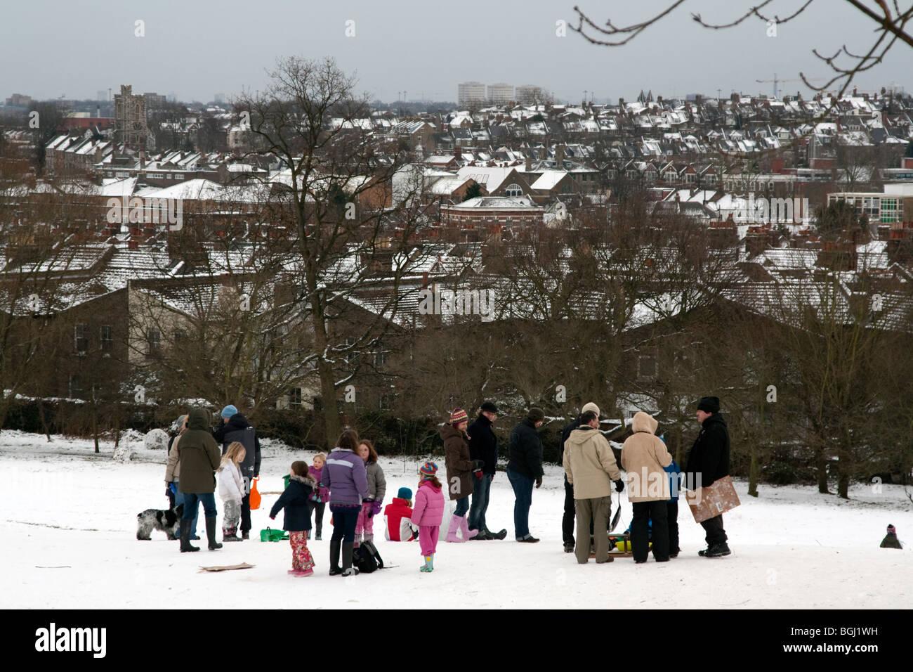 Sledging - Alexandra Palace Park - Haringey - London - Stock Image