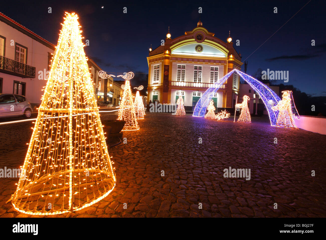 the theater building and some christmas decorations in the city of ribeira grande azores islands portugal