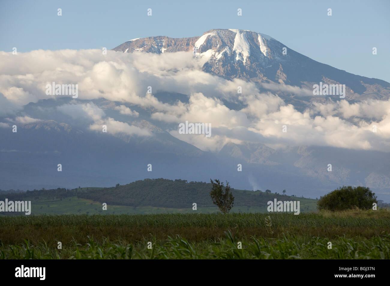 Mount Kilimanjaro's snowcapped peaks rise above farmland in Northern Tanzania. - Stock Image