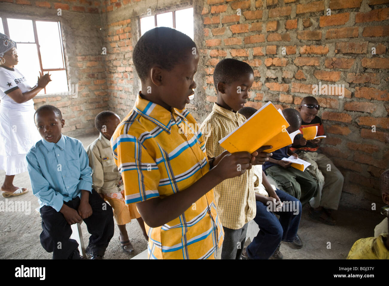 Children at a church service, Kilimanjaro Region, Tanzania, East Africa. - Stock Image