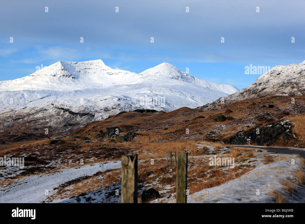 Ben More on the Isle of Mull covered in snow. - Stock Image