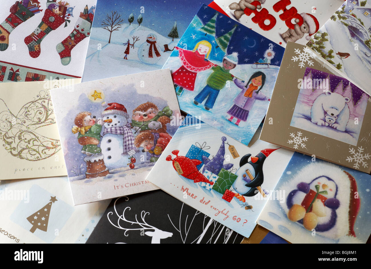 Christmas cards finished with and ready for recycling Stock Photo ...