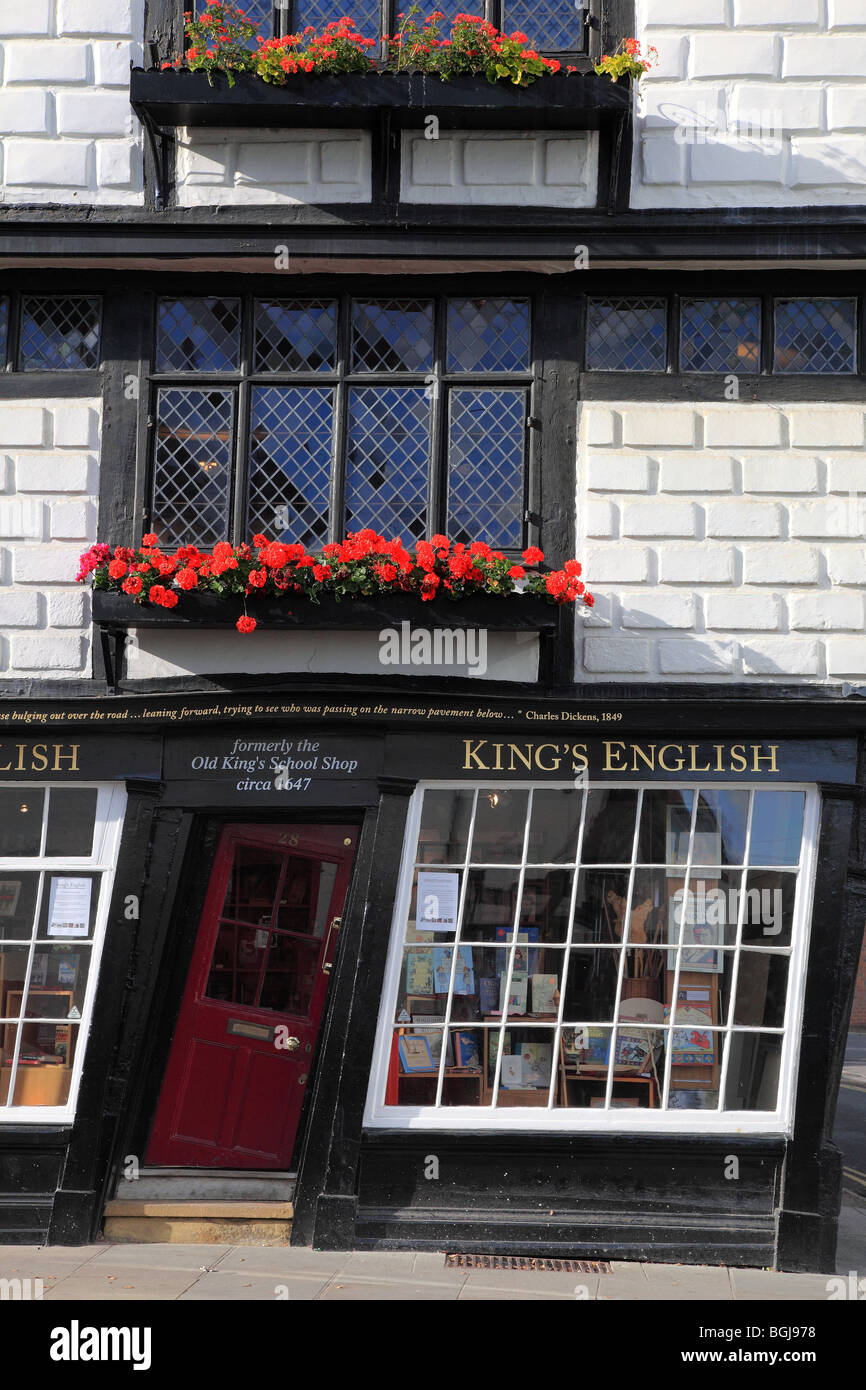 Old King's school shop crooked house in Canterbury Kent England - Stock Image