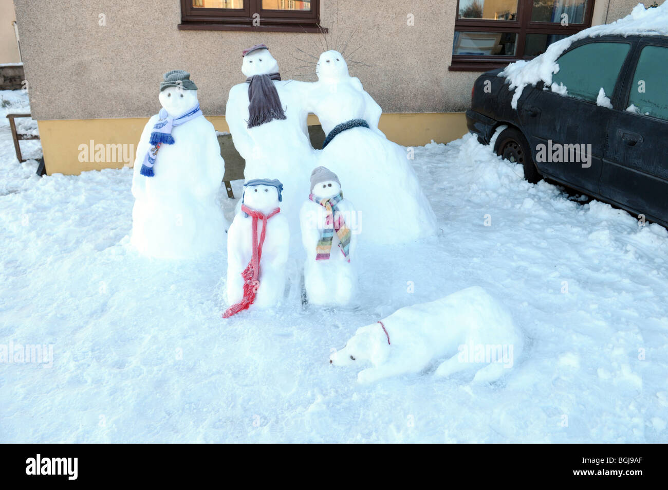 A snowman family - Stock Image