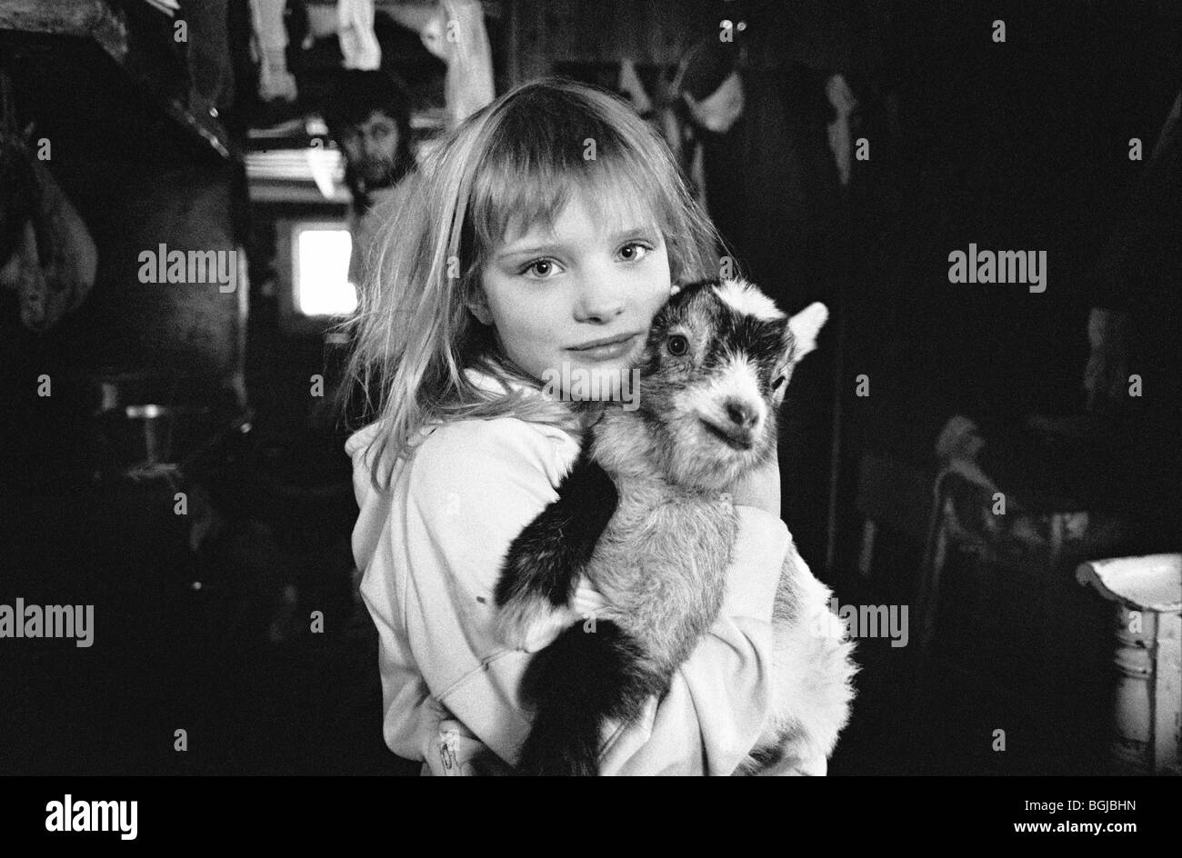 Young girl with baby goat at alternative lifestyle commune in Skogsnäs, Northern Sweden. - Stock Image