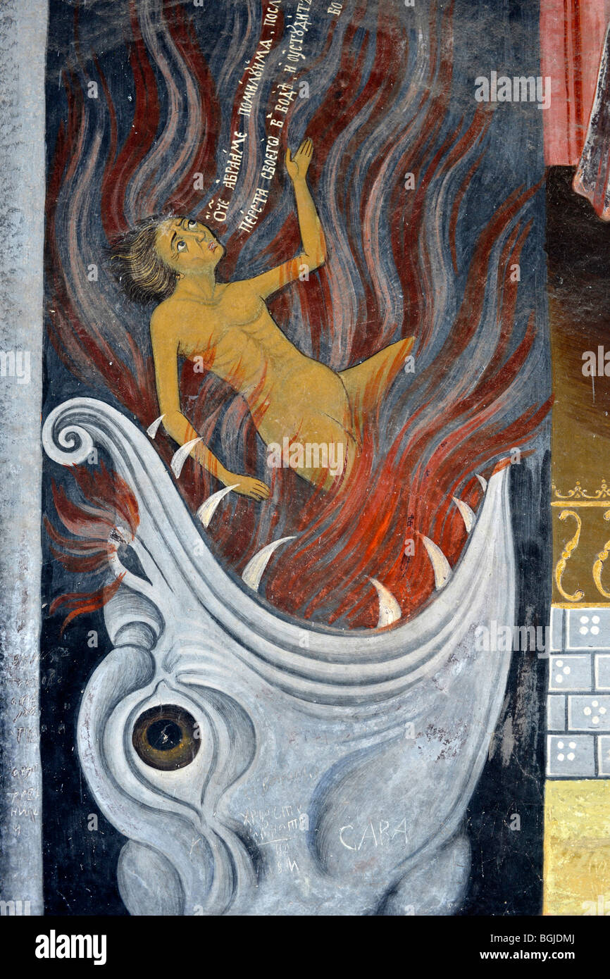 detail from one of  the exterior fresco paintings at  Rila Monastery - Stock Image