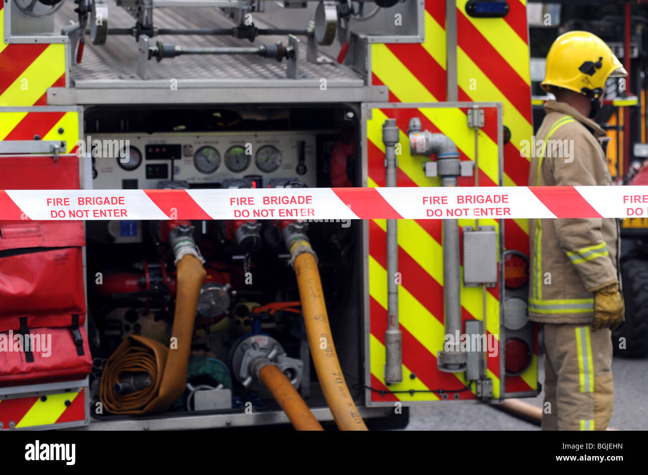 Fire brigade at on the scene of a major incident - Stock Image