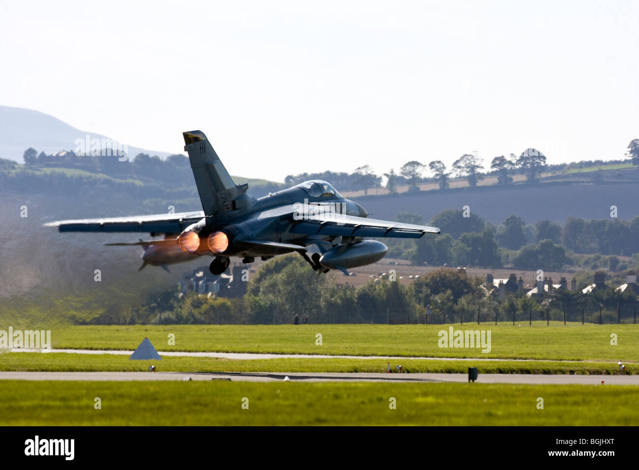 RAF Tornado F3 - 111(F) Sqn taking off with full afterburners at RAF Leuchars Airshow 2009, Fife, Scotland - Stock Image
