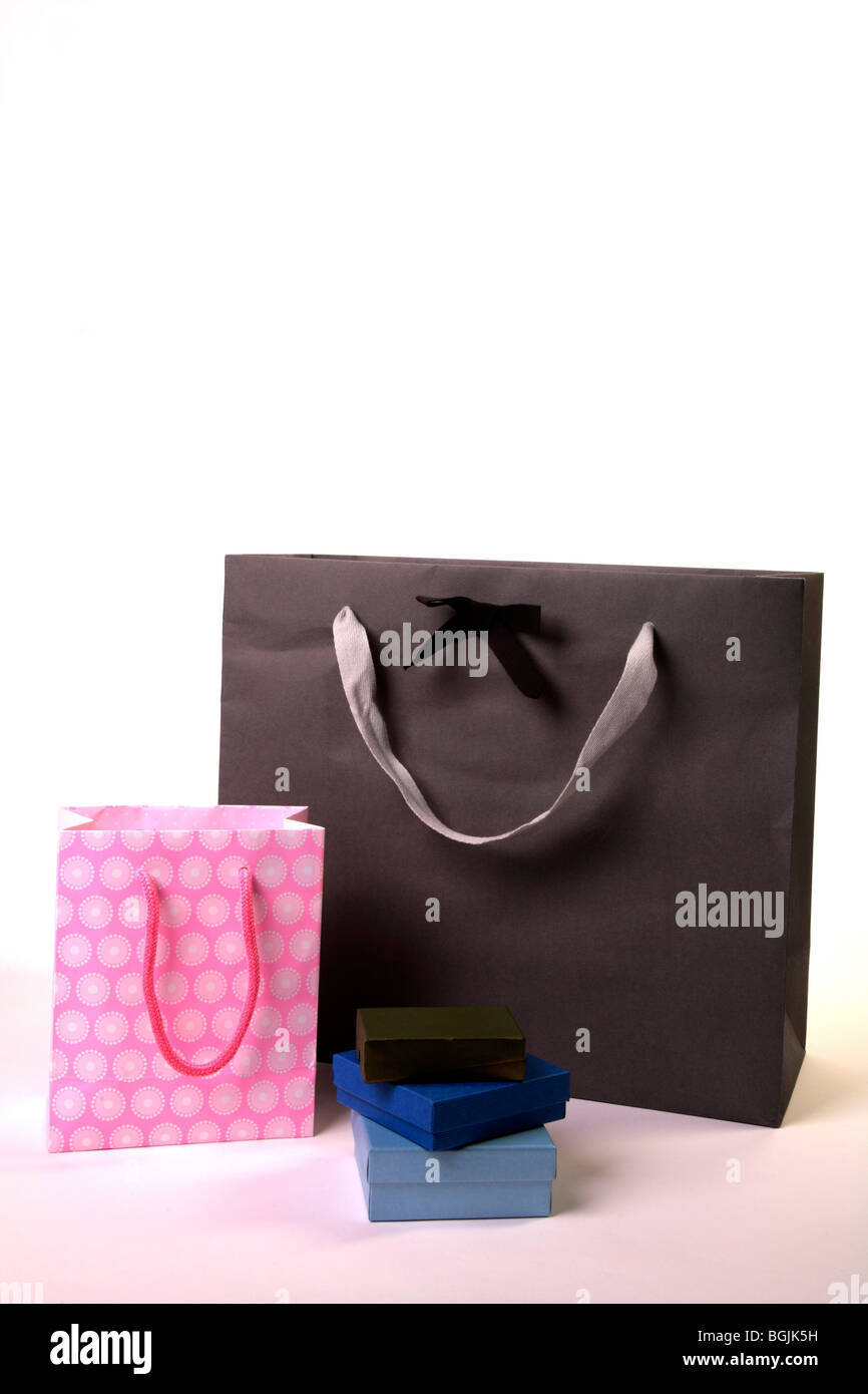 Gift boxes with luxery giftbag - Stock Image