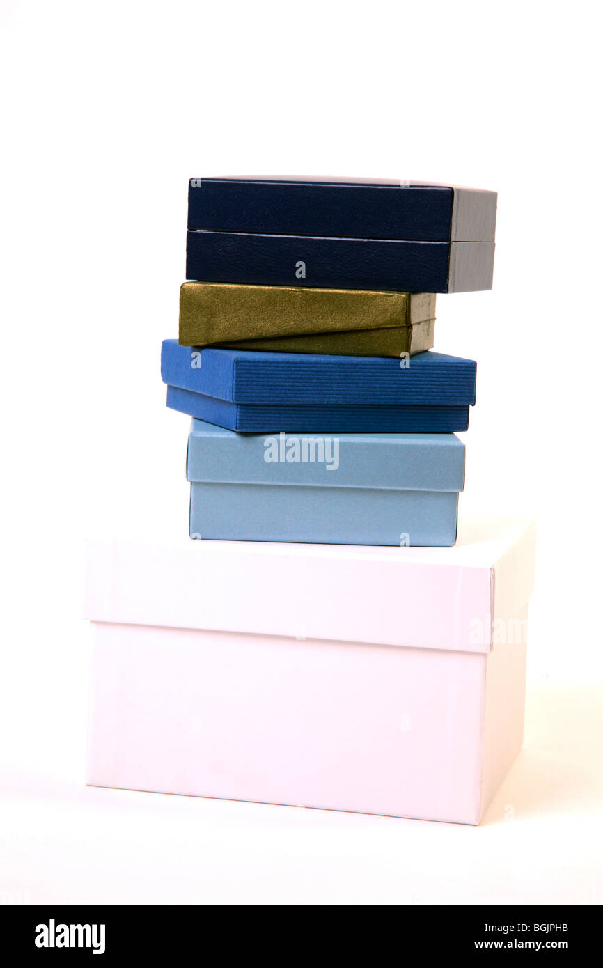 Stack of luxery giftboxes - Stock Image