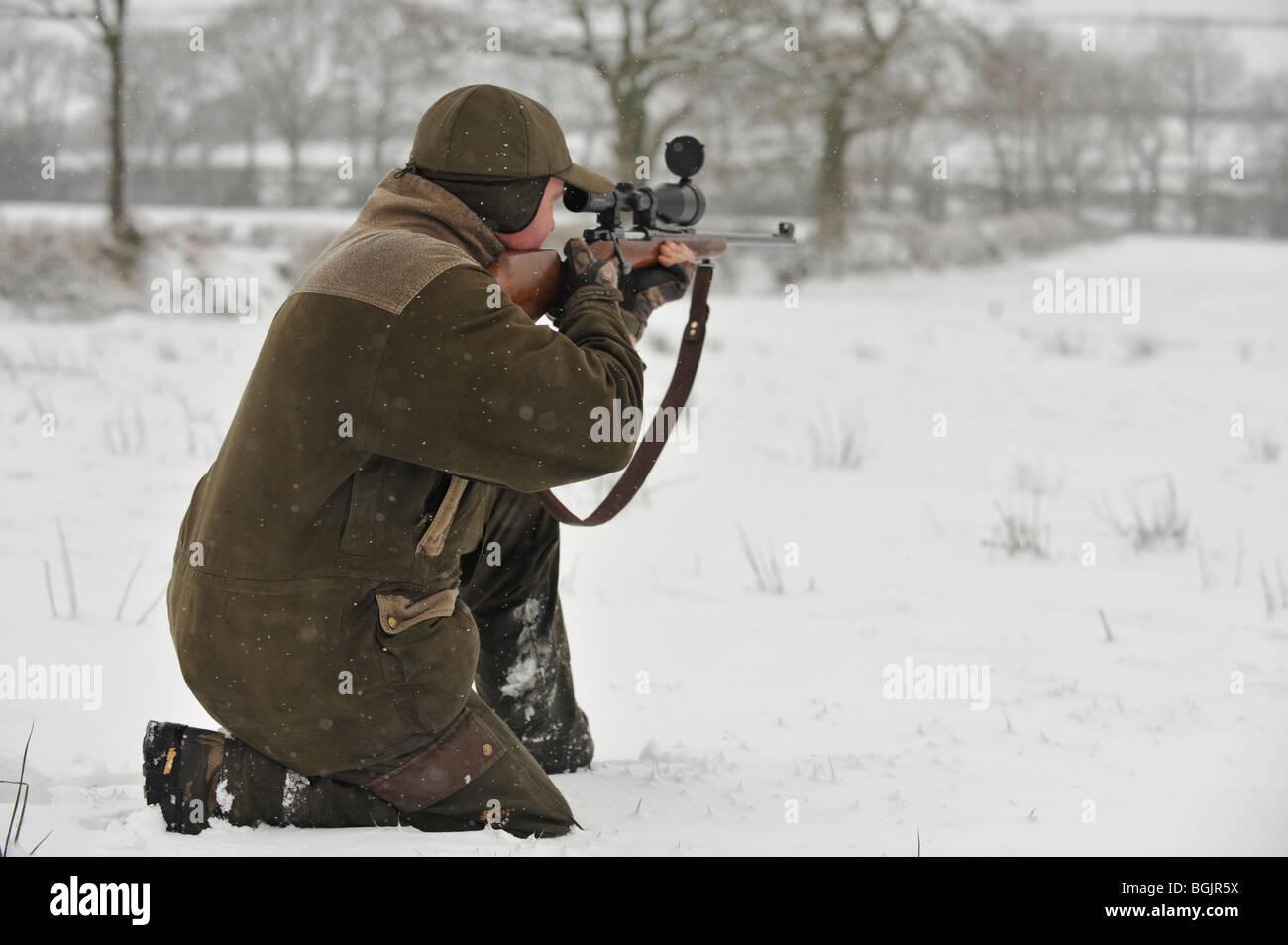 deer stalker taking aim - Stock Image