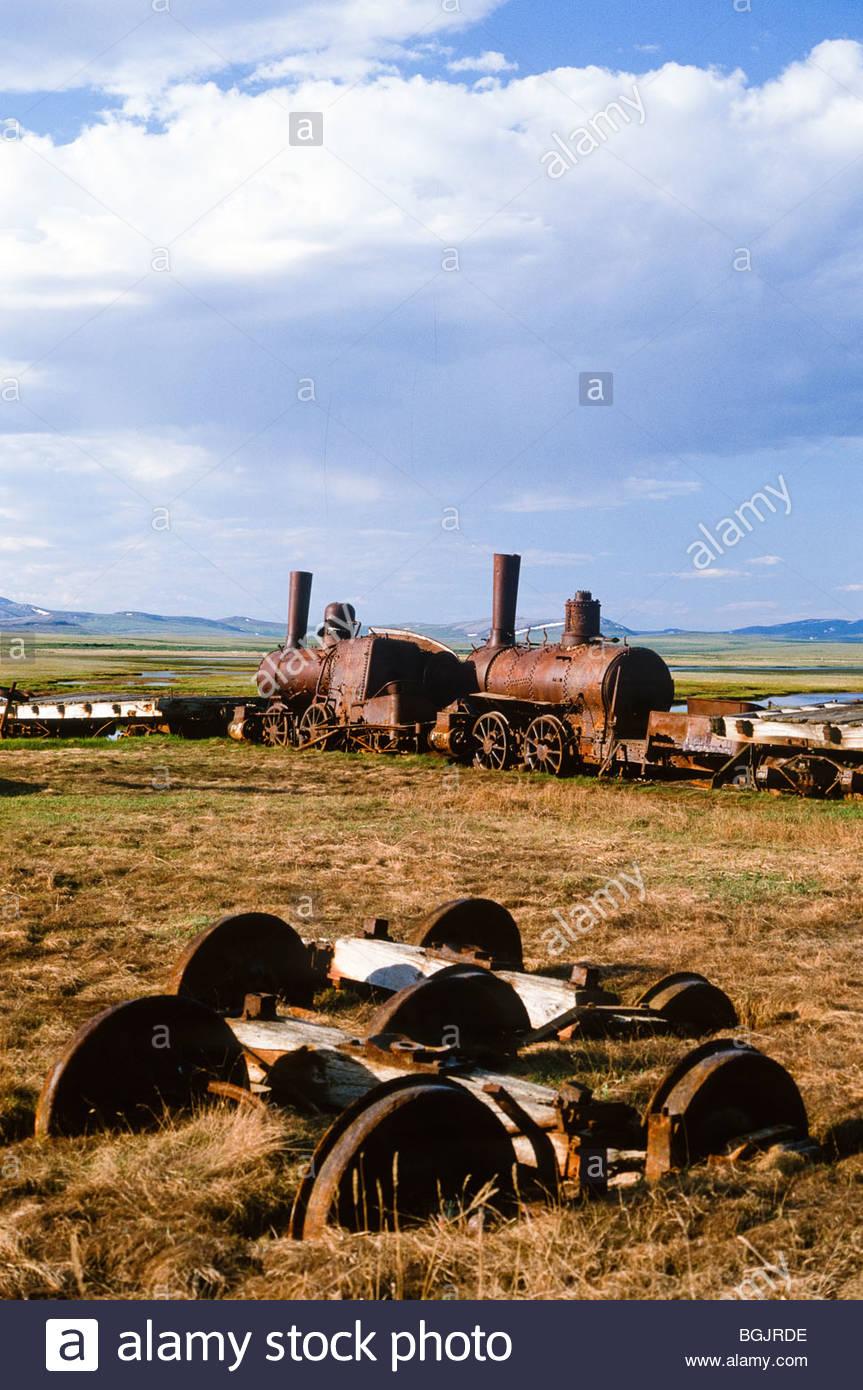 Alaska. Nome. ' Last Train to Nowhere' Council City and Solomon River Railroad near Nome. - Stock Image