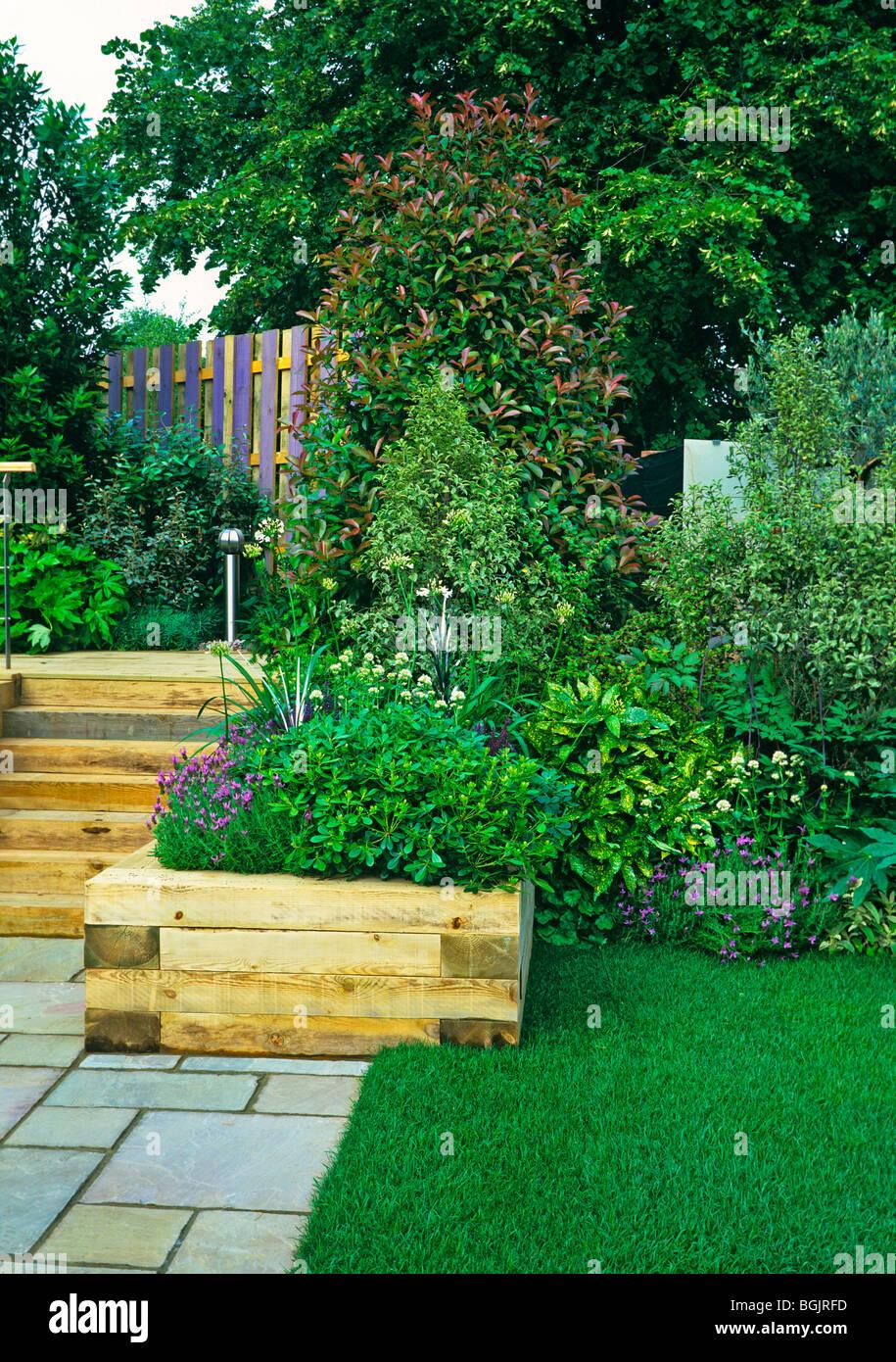 Detail of a small patio terrace in an urban garden Stock Photo