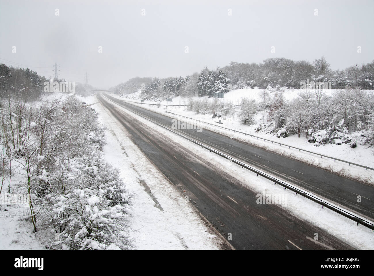 A3 open but no traffic during Major snow fall A3 area of hampshire january 2010 - Stock Image