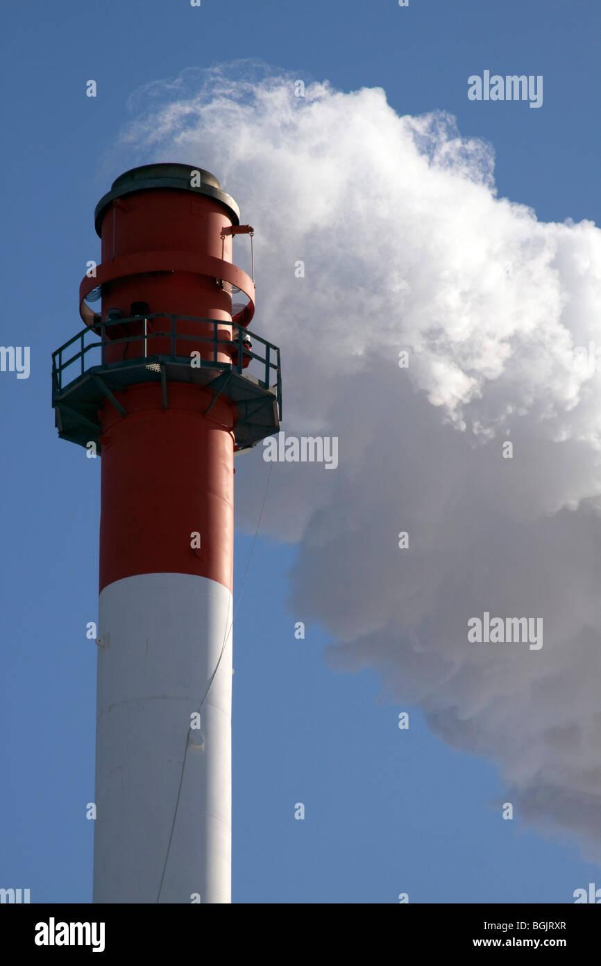 Smoke Stack  Biomass Energy Plant Flint Michigan USA - Stock Image