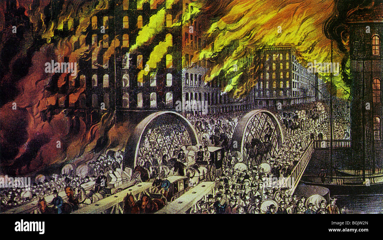 CHICAGO GREAT FIRE OF 1871 - Stock Image