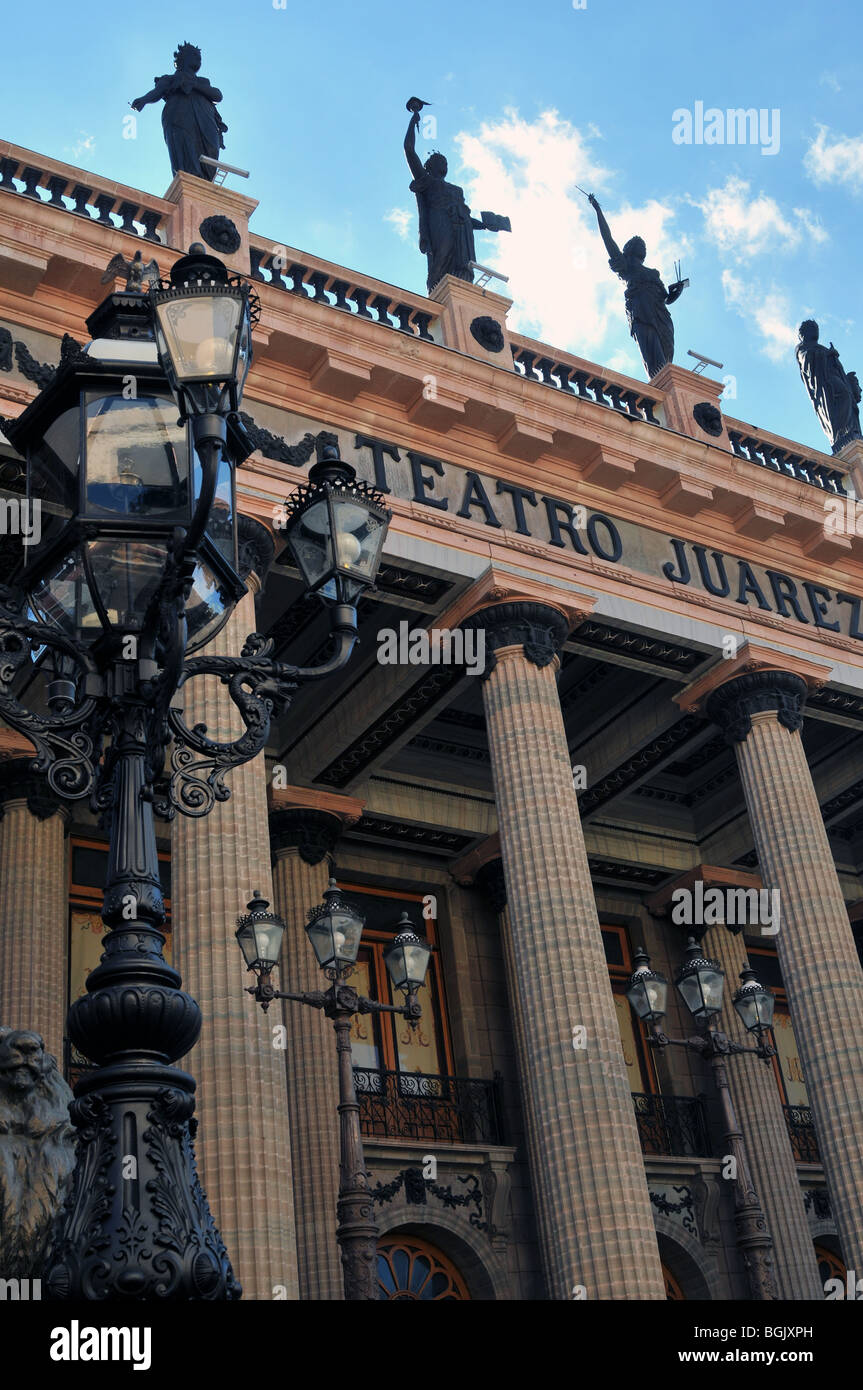 Low view point of Theater Teatro Juarez, Street Lamp Post at the front, Exterior Columns and Statues atop. Guanajuato, - Stock Image