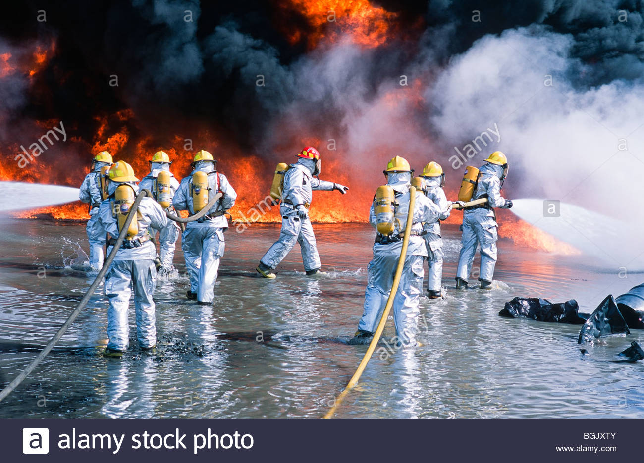 Alaska. Anchorage. Ted Stevens International Airport Fire Training Facility. - Stock Image