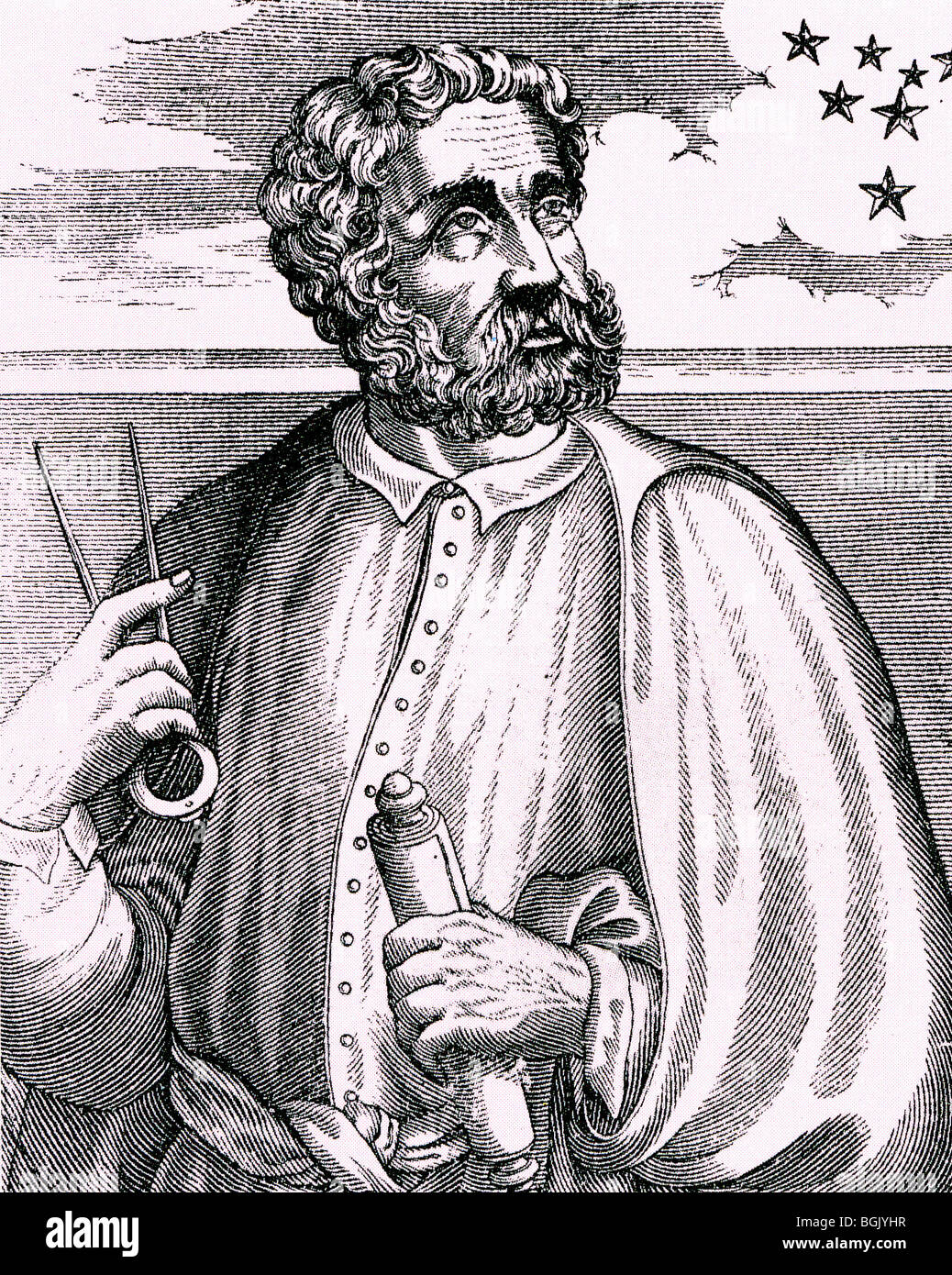 FERDINAND MAGELLAN - Portugese navigator (c 1480-1521) looking at the Southern Cross in a 16th century engraving - Stock Image