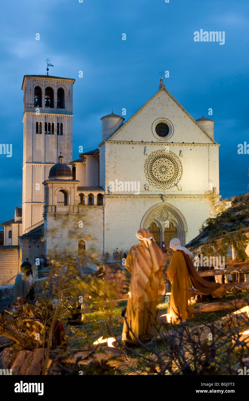 Assisi Colle del Paradiso Crib in front of San Francesco Church - Stock Image